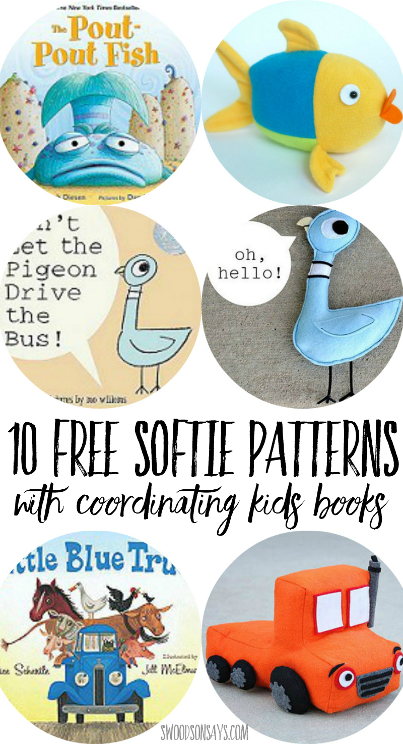 Check out this list of FREE softie patterns that match up with beloved kids books! 10 free stuffed animal sewing patterns coordinated with the books, perfect for gift giving. #sewing #freesewingpattern #softies