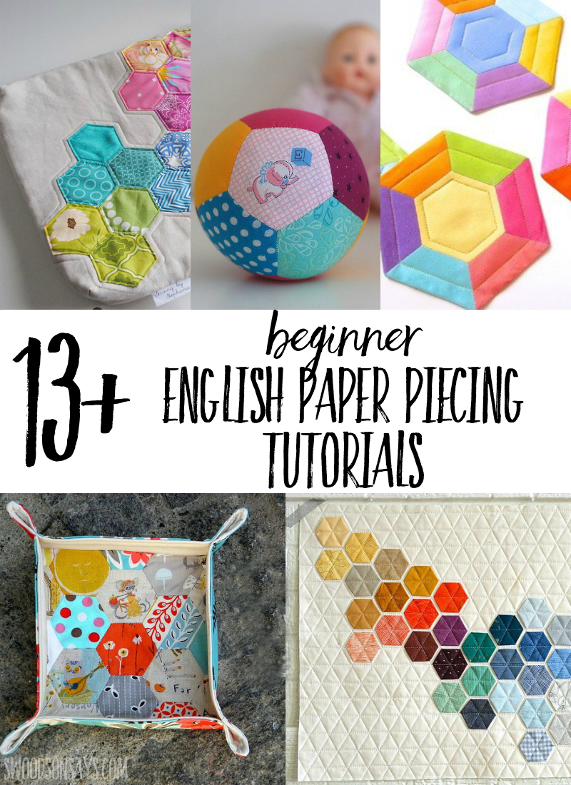 No sewing machine required - check out english paper piecing as a fun way to hand sew! These are all great paper piecing tutorials for beginners to try out; such a fun way to use up fabric scraps. #sewing #englishpaperpiecing #paperpiecing