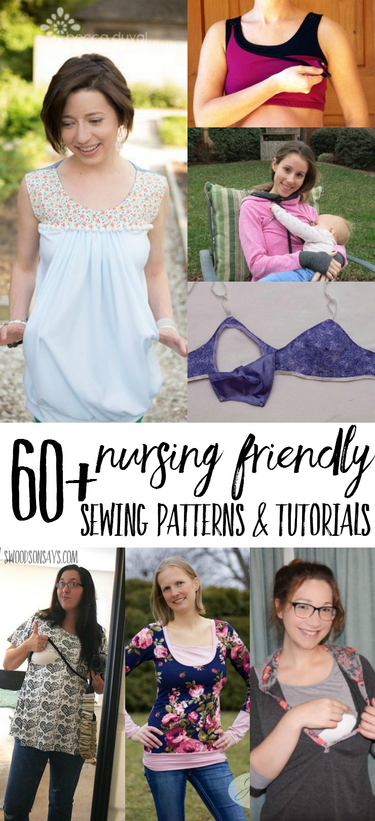 Looking for nursing sewing patterns? Here's a list of over 60 PDF sewing patterns that are breastfeeding friendly and nursing friendly sewing tutorials! Lots of these cross over to be maternity sewing patterns too.