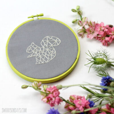 squirrel zentangle hand embroidery