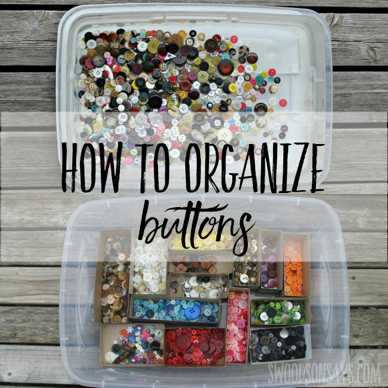 Cheap craft room storage idea! See how to organize buttons without spending a ton of money; this tutorial is quick and uses upcycled materials! #buttons #craftroom