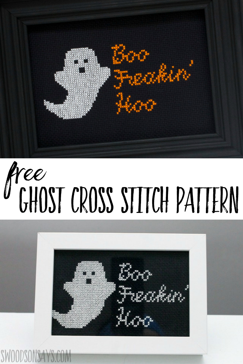 Stitch up this cute free ghost cross stitch pattern for Halloween! Free chart download for a Halloween cross stitch pattern to make and hang on the wall. #halloween #crossstitch #needlework