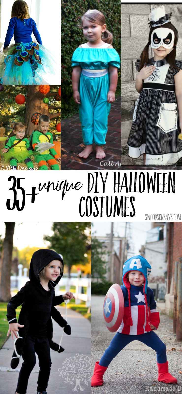 35+ Unique DIY Halloween costumes for kids - sew your kiddo up a comfy, one of a kind costume using sewing patterns that you already own or can use for normal clothes too!