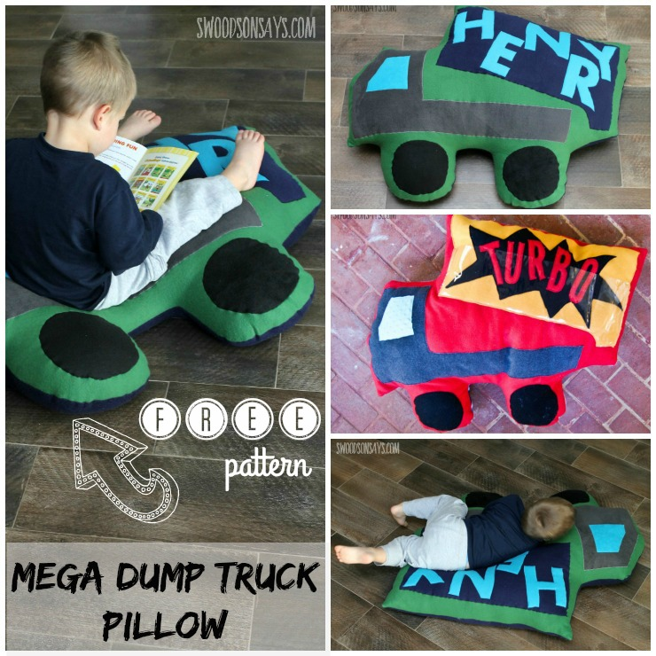 Free! Mega Dump Truck Floor Pillow Sewing Pattern Release - Swoodson Says
