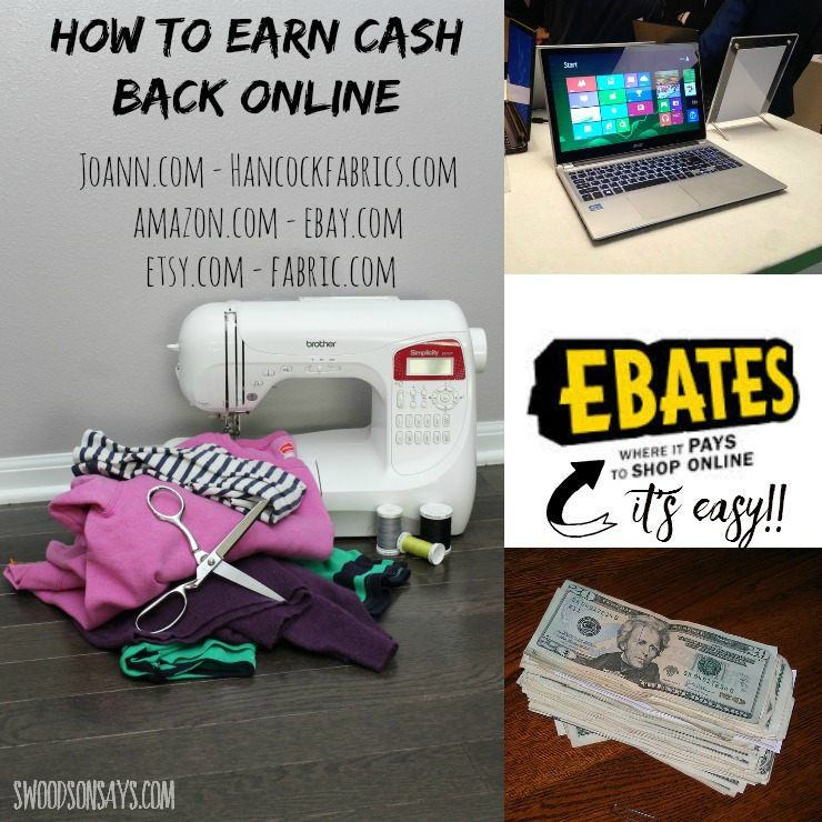 Use Ebates.com to earn cash back on fabric, patterns, notions, and sewing machines! It's easy! Swoodsonsays.com