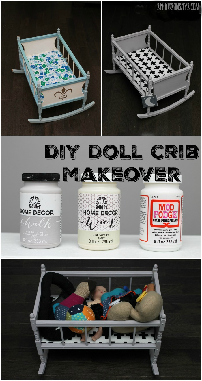 A DIY Crib Doll Makeover with Chalk Paint and Mod Podge Pearl. See how a vintage crib got updated with a chalk paint makeover into a modern, graphic baby doll crib.