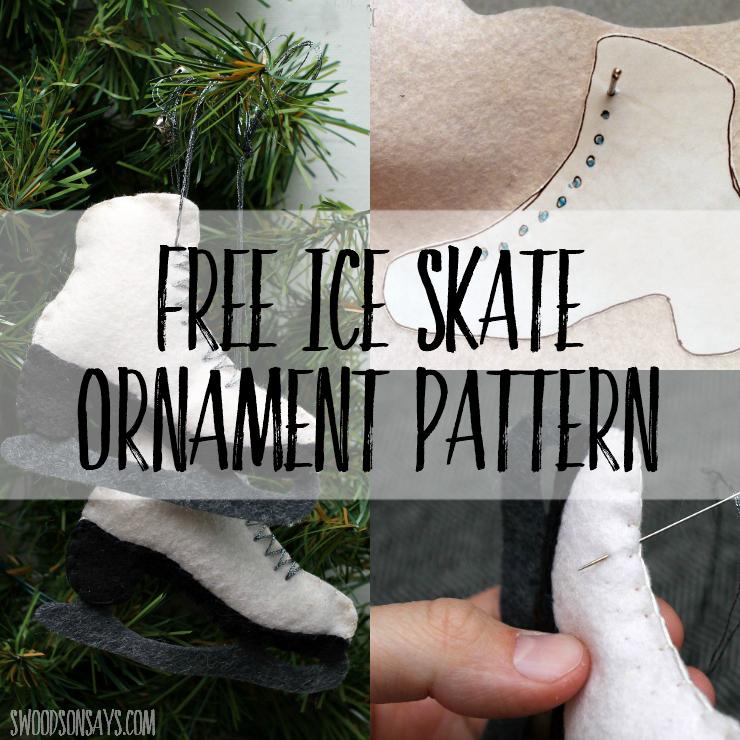 Free felt ice skate ornament pattern