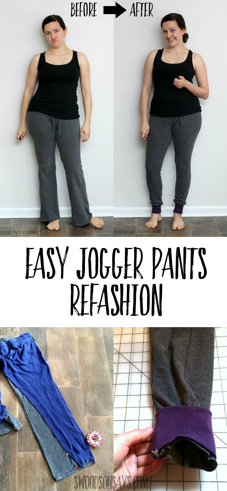 Refashion baggy sweatpants into joggers! This easy sewing tutorial will show you how to sew handmade joggers, no pattern required. #refashion