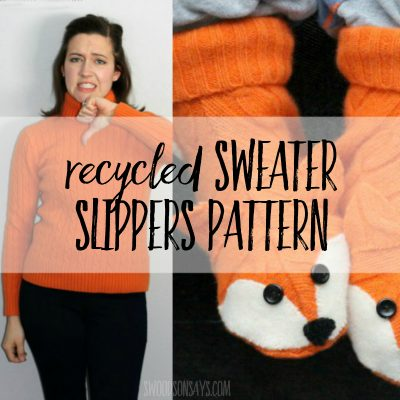 recycled sweater slippers pattern