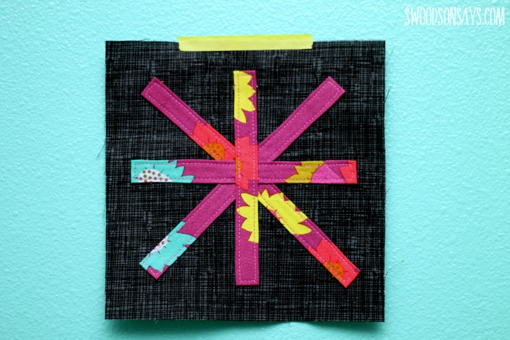 colorful bias tape applique quilt block