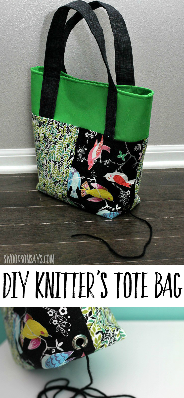 Fun PDF pattern for a knitter's project bag - click through to see how the sides fold down and the special yarn opening. Great gift idea to sew for a knitter!