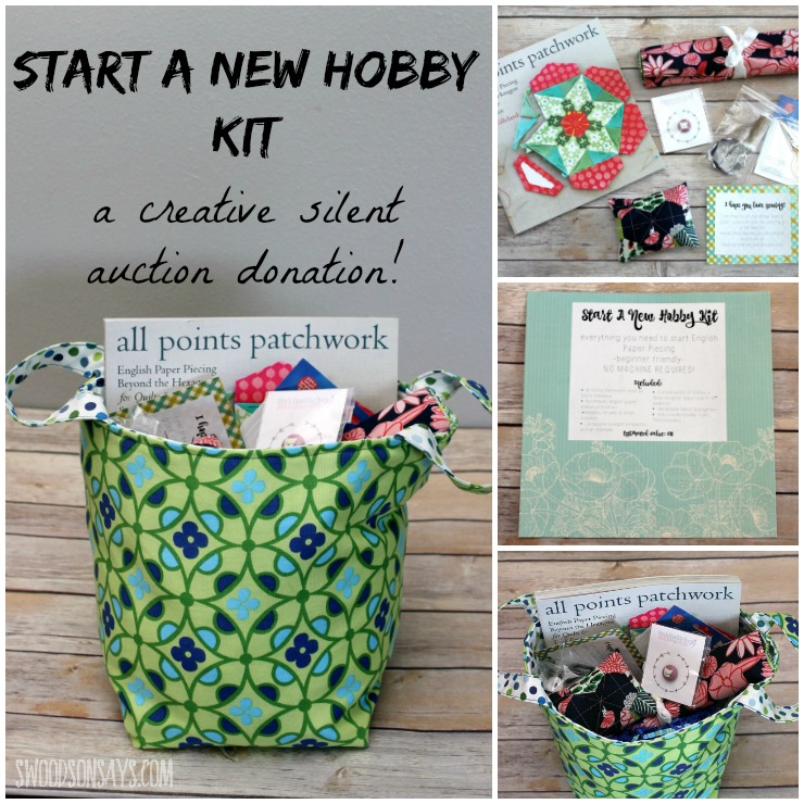"""Looking for a creative gift idea? Maybe something fresh for a silent auction fundraiser? Check out this """"Start a Hobby"""" Kit, with everything someone needs to start English Paper PIecing (EPP). EPP is easy to start and requires no machine - perfect for sewing in the car, on the couch, and on the go! See what all is included in the kit."""