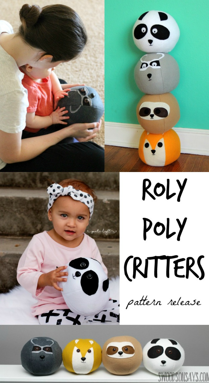 Sew up some sweet softies - these Roly Poly Critters are perfect to play with, roll around, and snuggle. Sewing pattern includes applique pieces for a sloth, fox, panda, and raccoon!