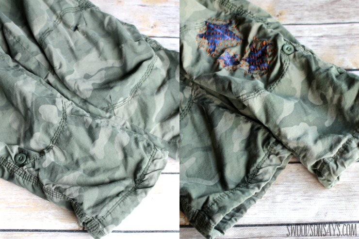 visible mending before and after