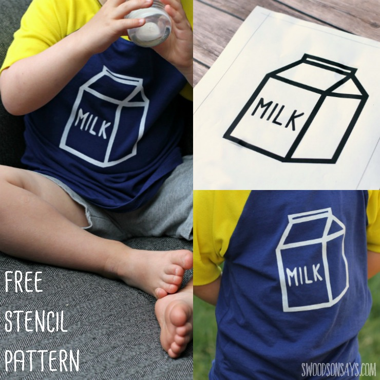 Makeover some summer tees with this free milk carton graphic! No need for a fancy cutting machine - print and stencil this on with a simple craft knife. This is a sponsored post, with free download file.