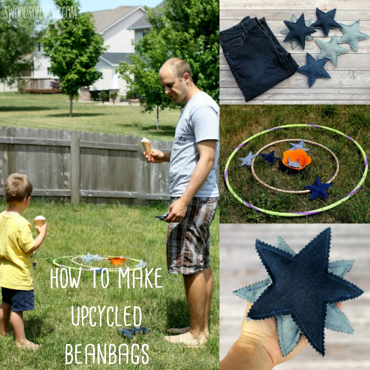 upcycled jeans sewing tutorial - making star shaped bean bags