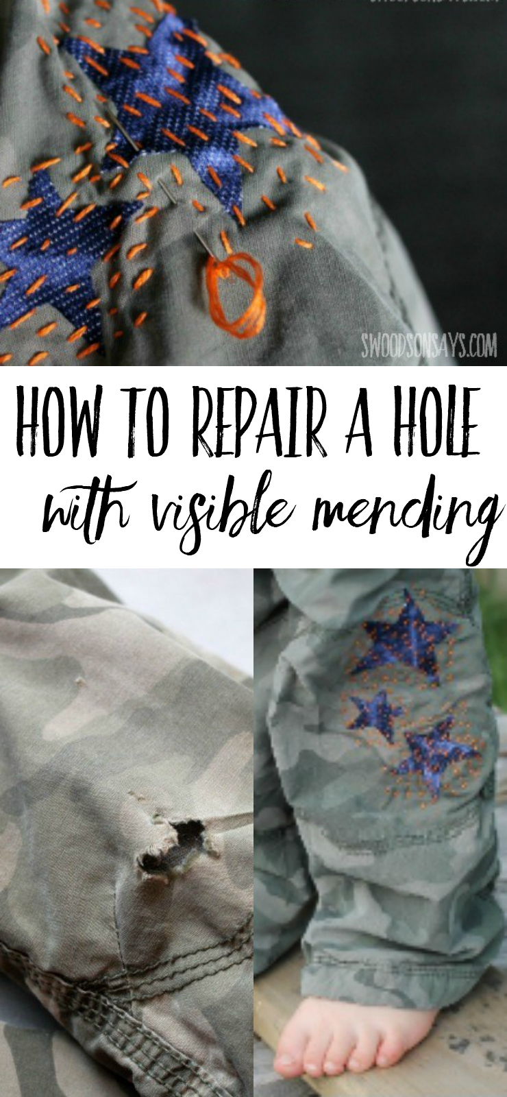 How to mend a hole - use Wonder Under, knit fabric scraps, and sashiko stitching to mend a pants hole. Visible mending is a fun trend - show off those stitches and give old clothes new life! #mending