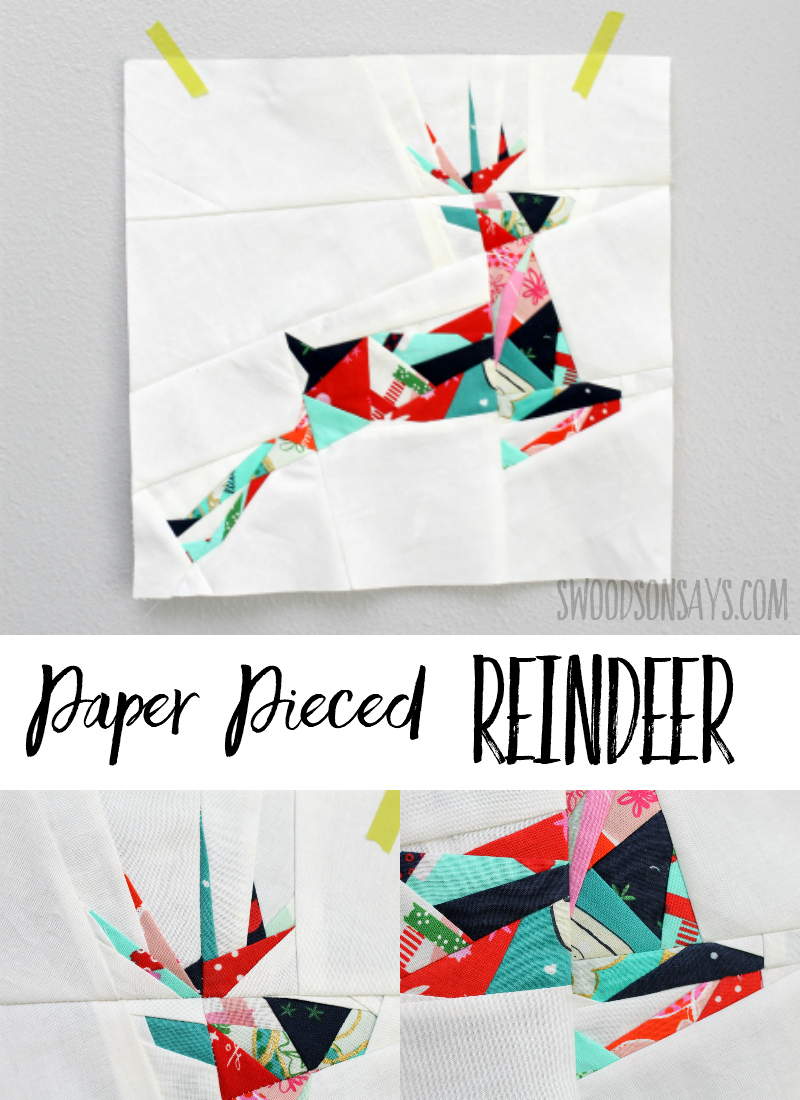 Sew up a paper pieced reindeer! This Christmas foundation paper piecing pattern is fun to sew and uses up lots of scraps. #christmas #christmascrafts #paperpiecing #christmassewing