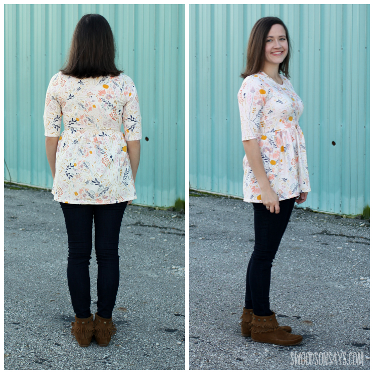 A knit PDF sewing pattern for women - I took the Out and About Dress from Sew Caroline and made it into a top!
