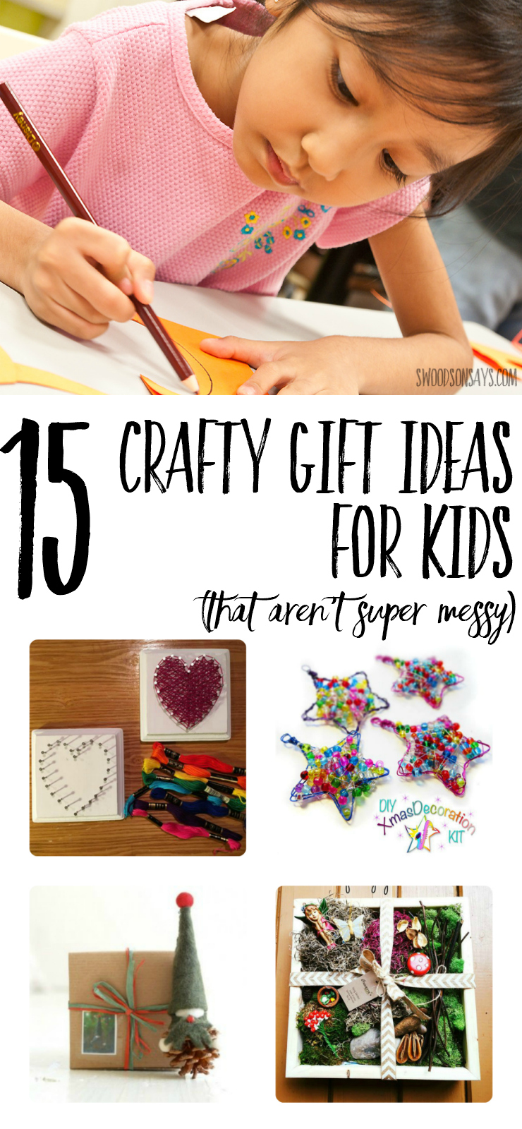 Check out this fun gift guide to see crafty presents for kids that DON'T make a huge mess. Crafty gift ideas for kids can be fun and easy, with suggestions for all ages. #giftguide #kidsgiftguide #nontoygiftideas #craftkitsforkids