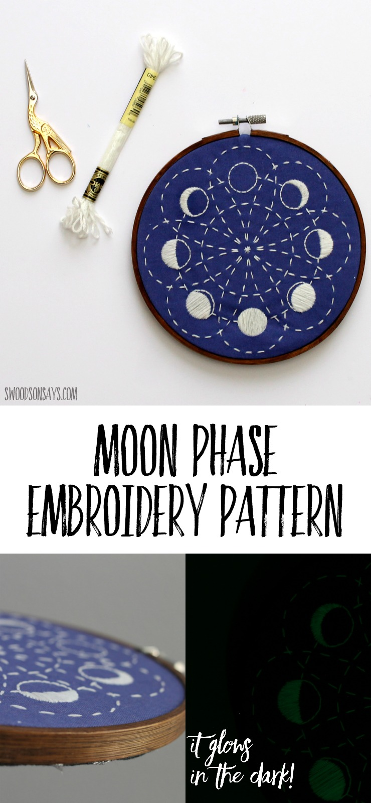 Check out this beautiful moon embroidery design that shows the lunar cycle! Sashiko stitching and simple satin stitches make this embroidery pattern perfect for beginners. Glow in the dark embroidery floss adds a fun surprise when the lights are off - no one expects a glow in the dark embroidery hoop! #moonembroidery #embroidery #lunarcycle #lunarphases