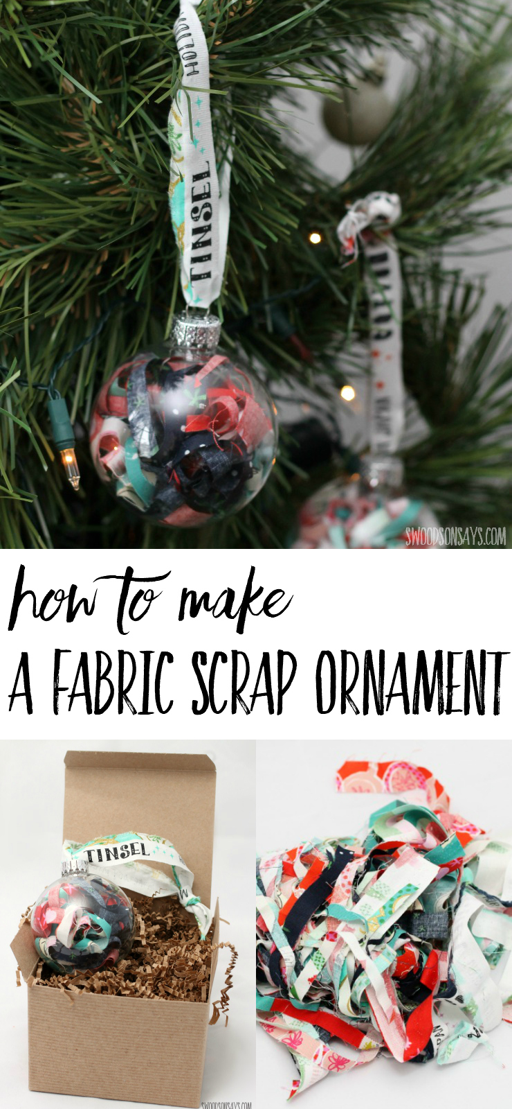 The quickest DIY ornament you'll ever find; use your prettiest fabric scraps and make this DIY fabric scrap ornament! No sew ornaments are my favorite, and this uses up every last bit of fabric. #nosewornament
