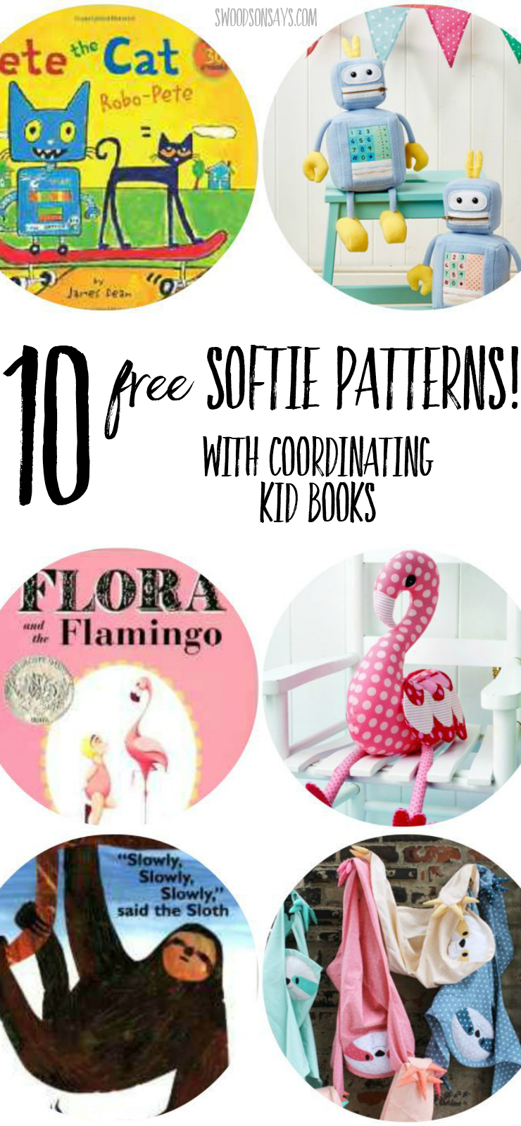 """Check out a big list of free softie patterns matched up with coordinating kid's books! Softies are such a fun gift to sew for kids, and make the perfect """"half handmade"""" gift paired with a book. #freesoftiepattern"""