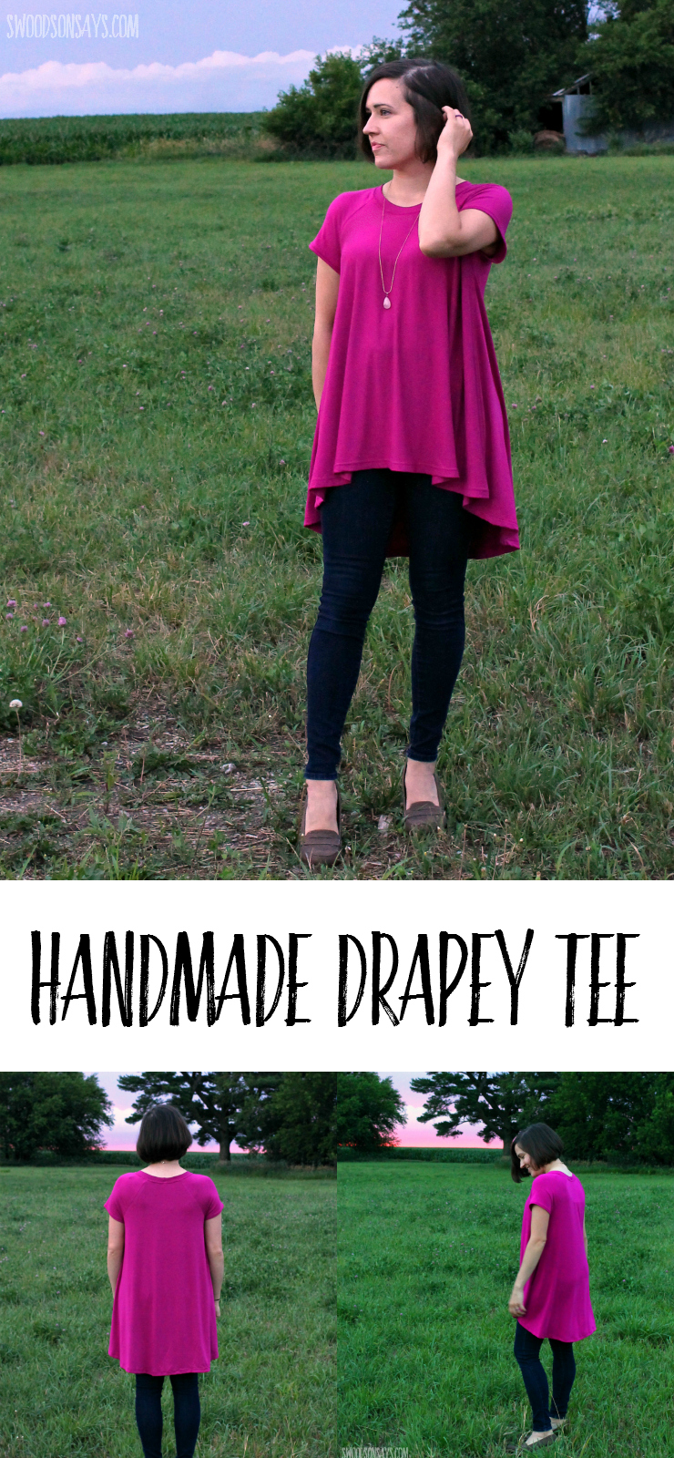 How to sew a handmade drapey tee - perfect with leggings! This is a pattern review for the Closet Case Patterns Ebony Tee!