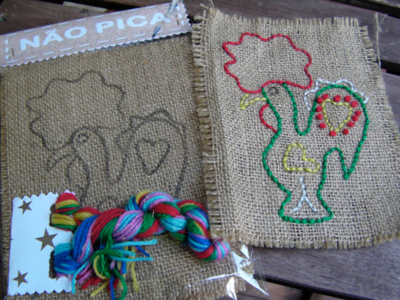 kids embroidery flags kit