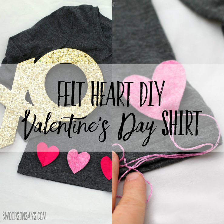 Looking for a DIY Valentine's Day shirt? This wool felt applique tutorial only takes 15 minutes! Super easy craft with a free printable template to download, you can make it the morning before school. #valentinesday #valentinesdayshirt #valentinesdaycraft