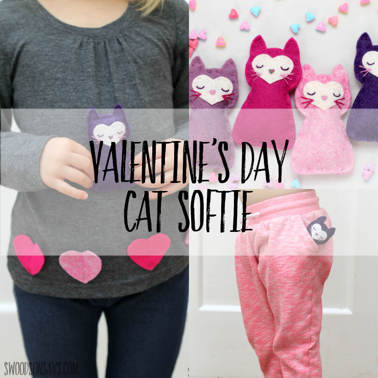 Need a fun Valentine's Day gift to sew for kids? Use this free cat sewing pattern and you'll be set! This sweet little pocket kitty tucks right into pants or overalls, perfect for snuggling and taking along in case of separation anxiety. Free stuffed animal patterns are fun to sew and this one requires no sewing machine! #valentinesday #softiesewingpattern #stuffiesewingpattern #freesewingpattern