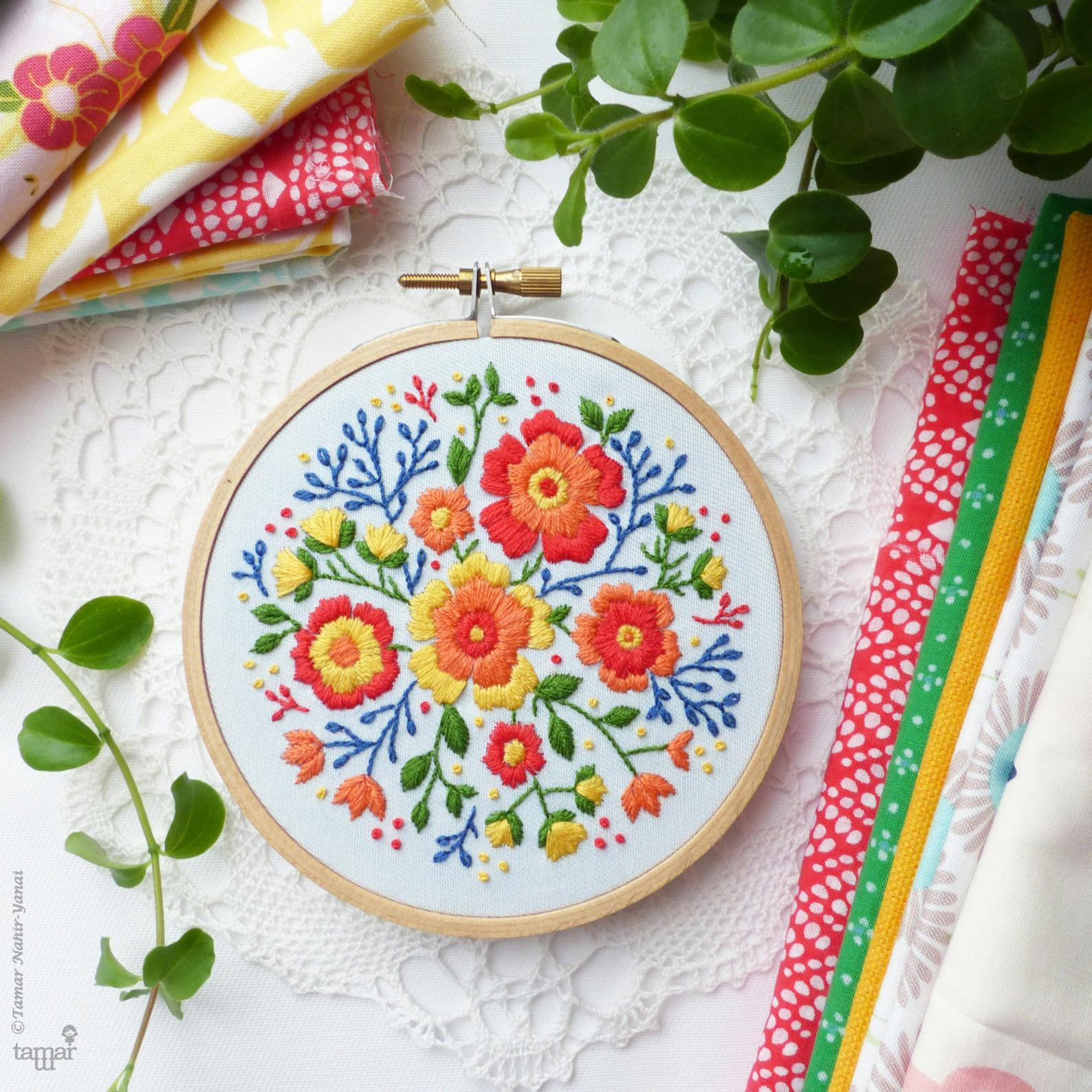 bright floral embroidery kit
