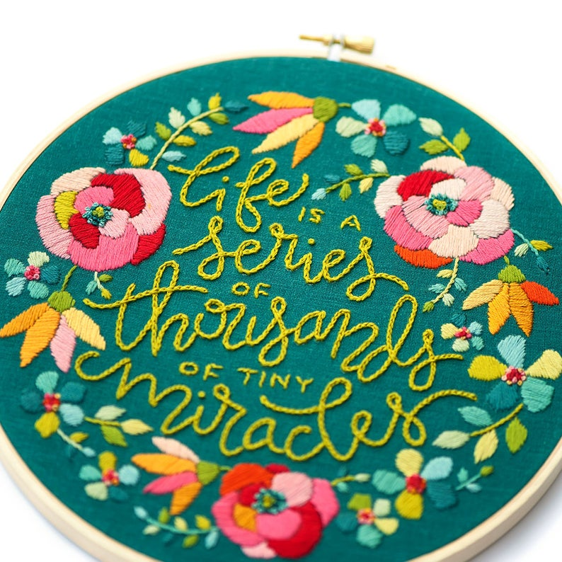 inspirational hand embroidery kit