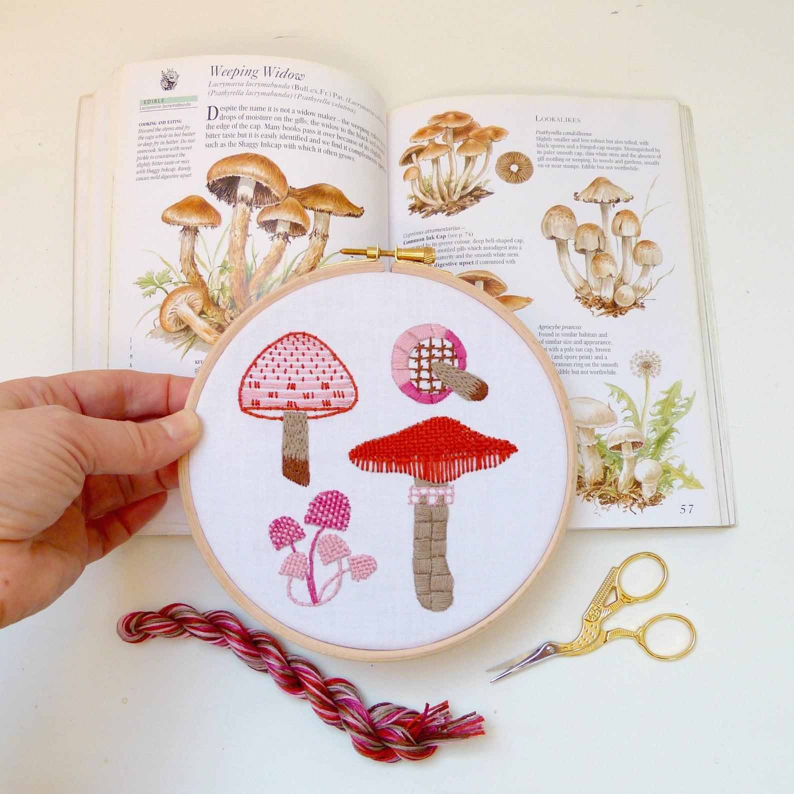 mushroom hand embroidery kit
