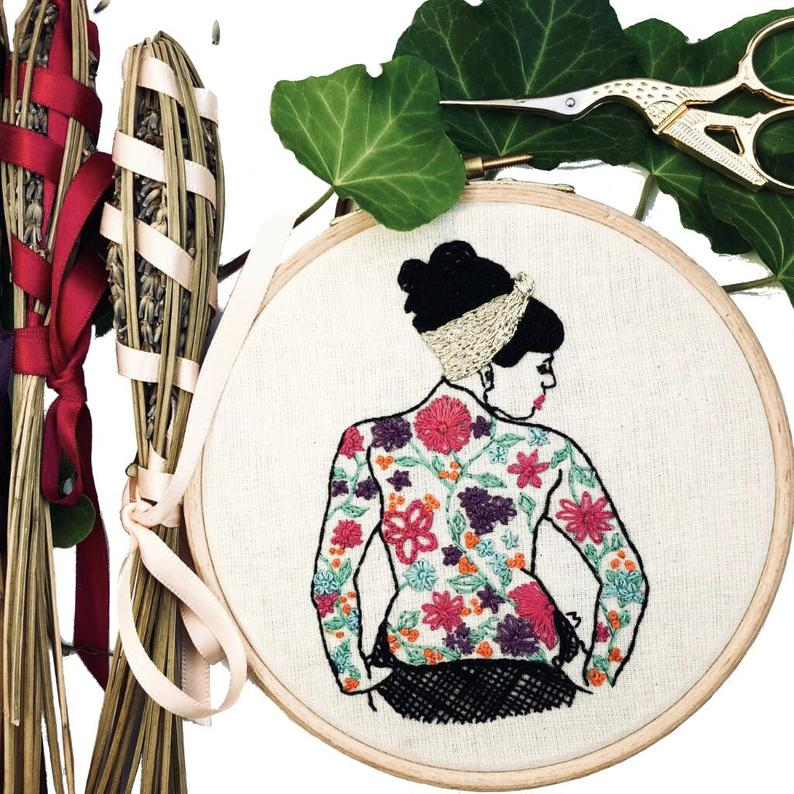 tattooed lady hand embroidery kit
