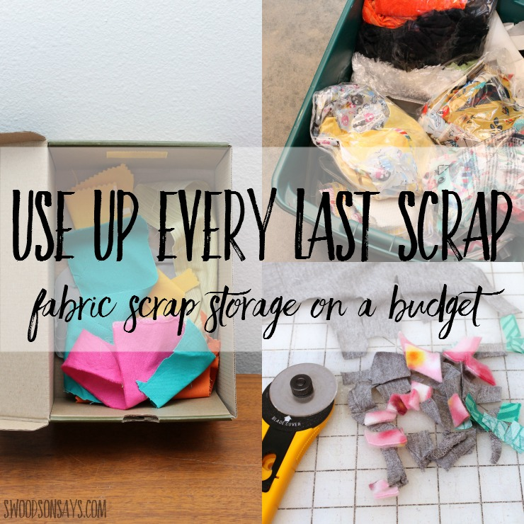 5 tips for how to store fabric scraps on a budget! Creative fabric scrap storage doesn't have to be expensive; save even the tiniest scraps and give them a new purpose instead of filling up your trash.