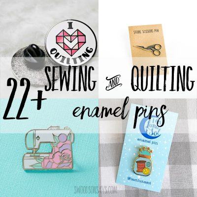 collection of sewing and quilting enamel pins