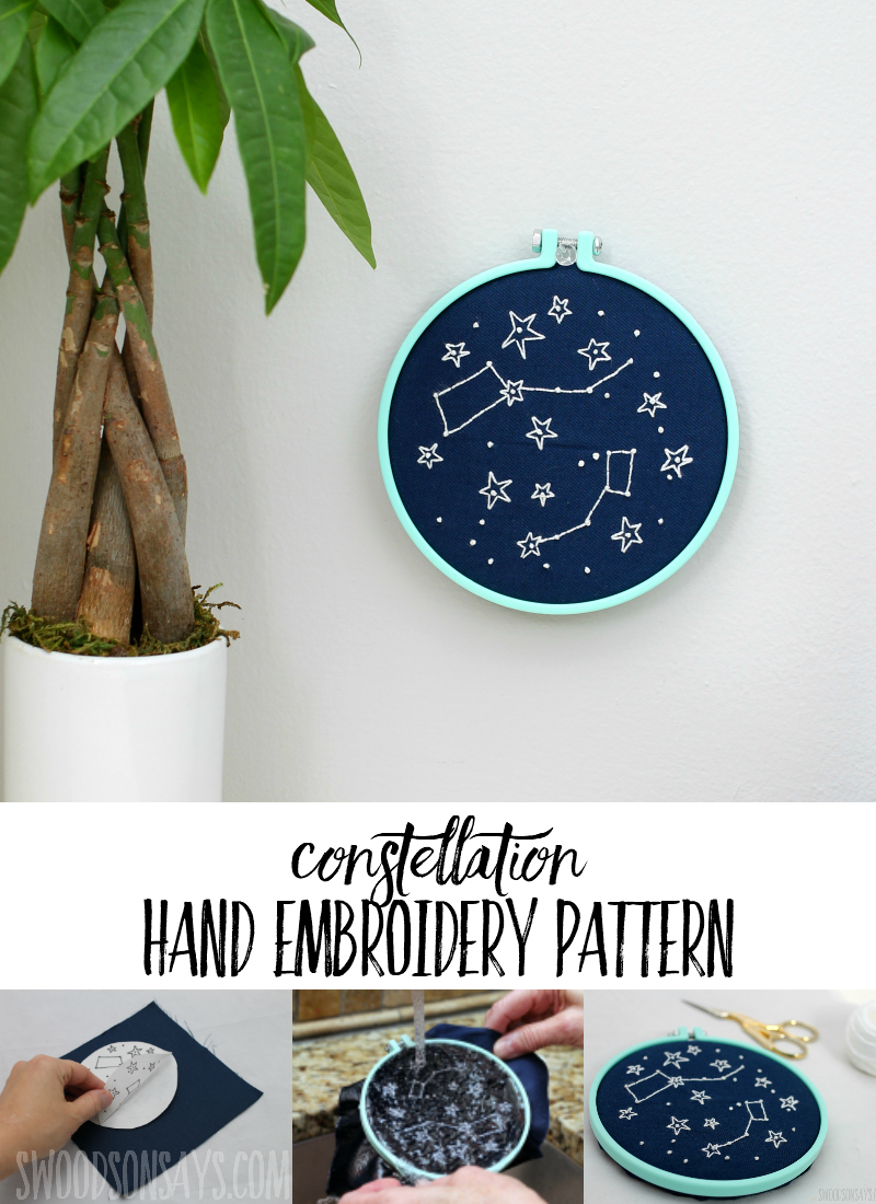 This modern hand embroidery pattern is beautiful! Trendy constellation embroidery pattern is perfect for diy nursery decor or anywhere else in the house. Click through to see the magic method used for transferring the pattern. #embroidery #handembroidery #constellations