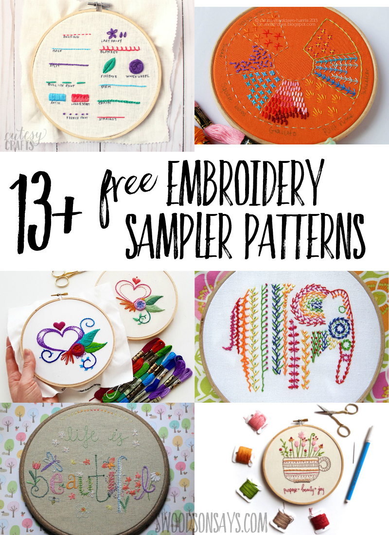 Fun and free embroidery sampler patterns! Learn how to embroider with these beginner friendly hand embroidery patterns from well known designers. #embroidery #handembroidery