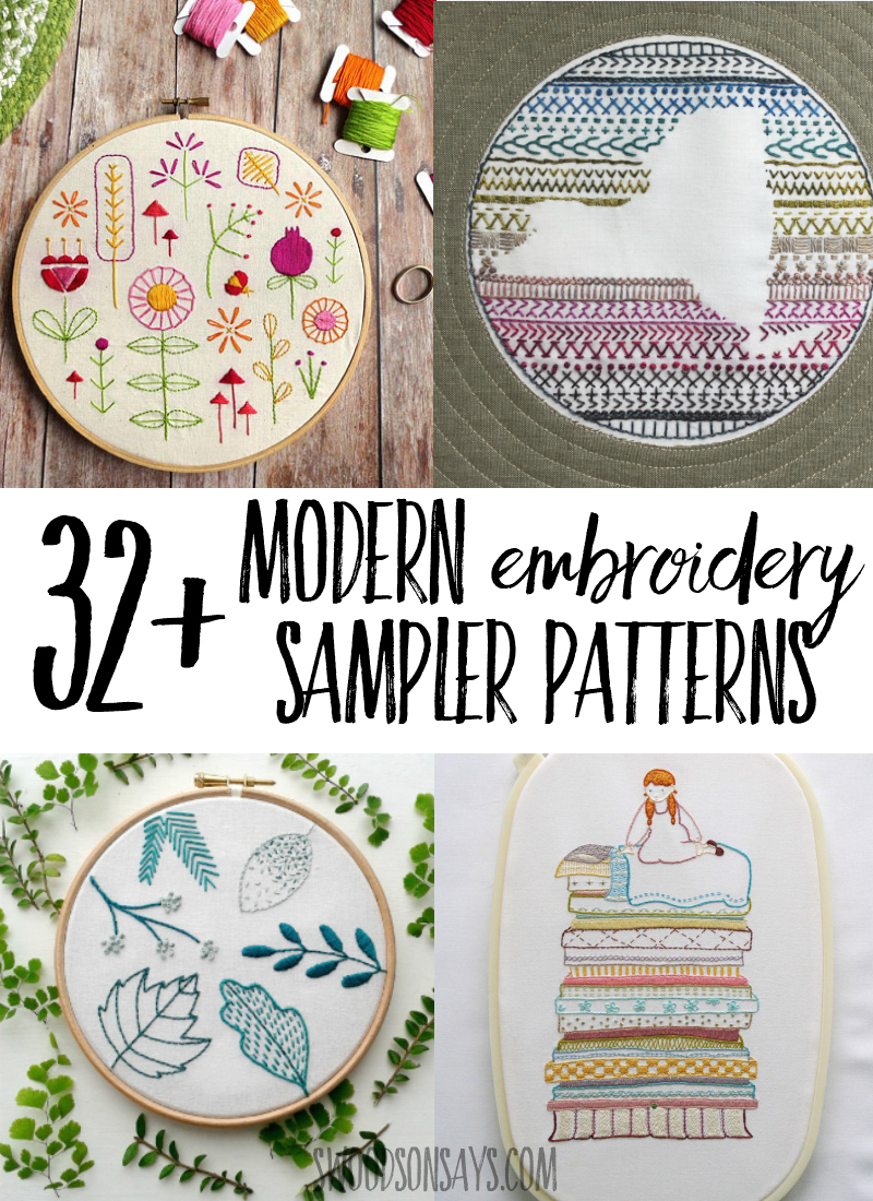 Always wanted to try embroidery? A sampler is a fun way to try a bunch of different stitches! Check out this big list of hand embroidery sampler patterns that are all modern and fun to sew. #embroidery #handembroidery #needlework