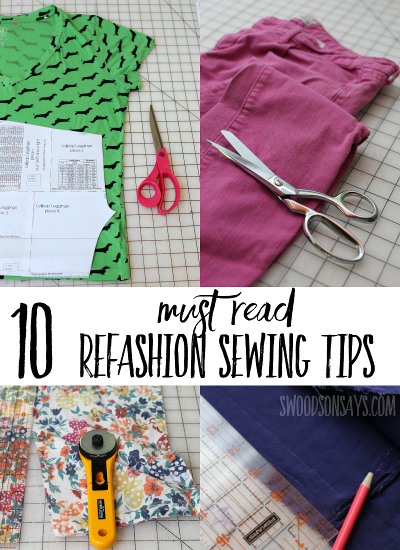 Do you want to transform old clothes into new ones but don't know where to start? Check out these 10 must read refashioning tips for how to get started and how to choose a project. Upcycle sewing is inexpensive and fun, love your finished project after reading these refashion hacks first! #sewing #refashion #upcycle #sewingtips