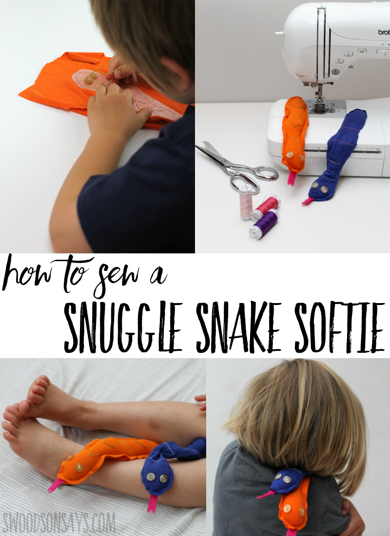 See how easy it is to turn an old t-shirt into a snuggle snake! This fun upcycle sewing project is a perfect kid's sewing pattern and quick to make. A great project for kids learning to sew, your little ones will love tucking their snake softies into pockets and under pillows. This post is sponsored by Sulky, click through to see why two of their products are perfect for teaching kids to sew! #sewing #sewingwithkids #sewingpattern #softiepattern