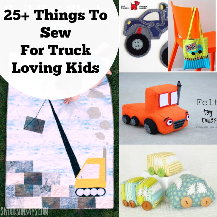 Check out over 25 ideas of what to sew for kids who love trucks! Stuffed trucks, truck quilts, truck shirts, and truck play mats are all included in this roundup of sewing projects for kids.