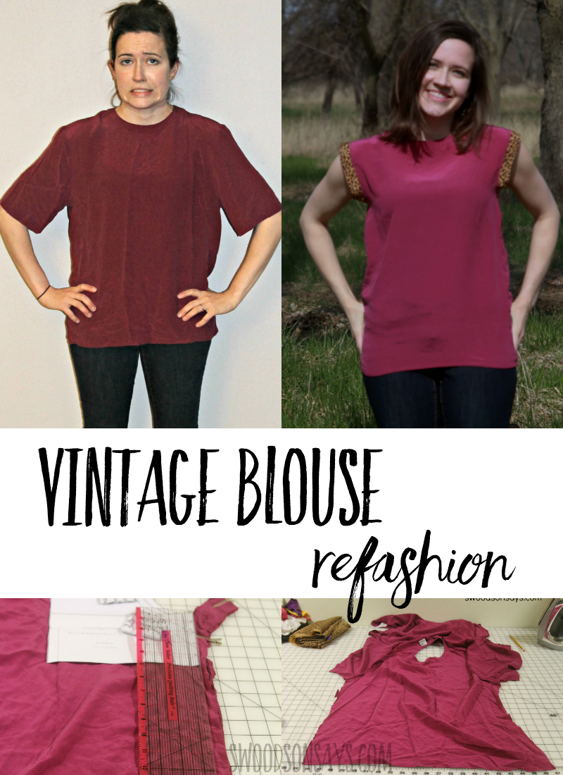 See how easy it is to refashion a vintage blouse with this simple tutorial. Instructions for how to make a baggy shirt more feminine and add accent cuffs on the sleeves. This vintage shirt makeover will have you headed to the thrift store! #thrifting #refashion #upcycle #sewing