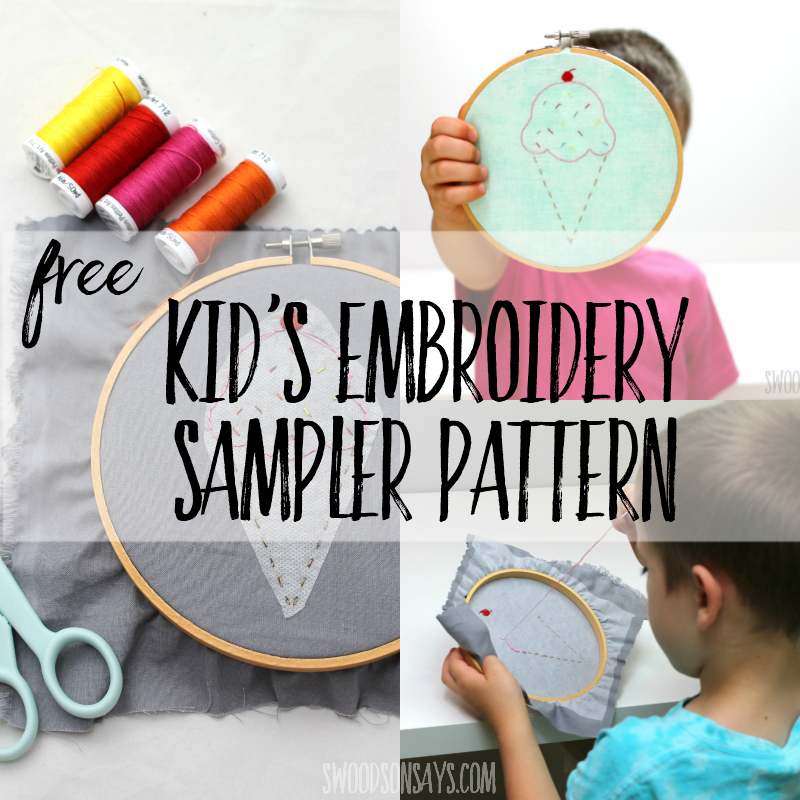 Kid's hand embroidery sampler