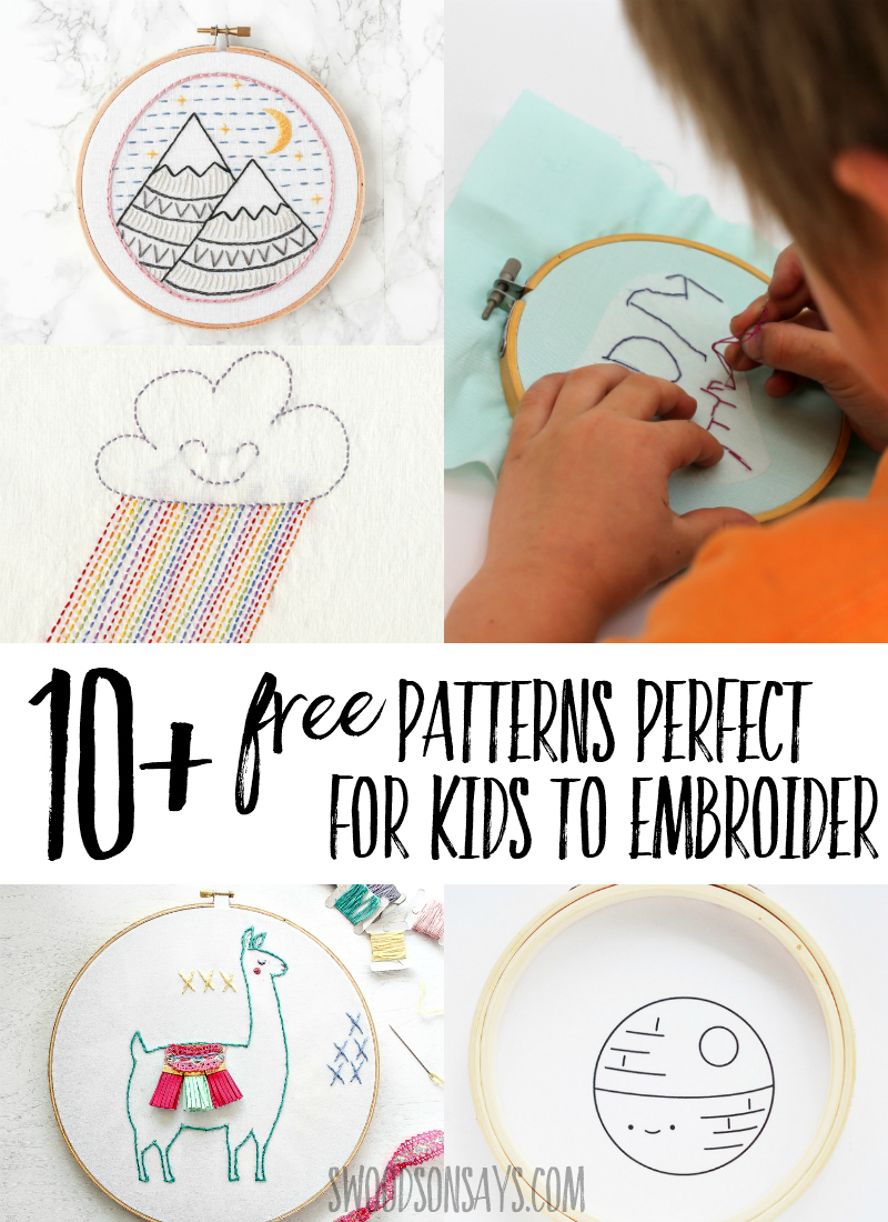 Click through to see this fun list of hand embroidery patterns that are FREE and simple enough for kids to stitch! Teach kids how to embroider with these easy patterns in kid friendly motifs. #embroidery #kidscrafts