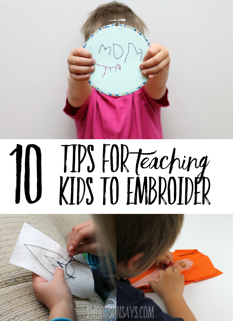 Kids can embroider too! See 10 tips for teaching kids to embroider to make it easy and fun. This is a great activity for preschool aged kids and up; it develops fine motor control, creativity, and is old-fashioned fun! #embroidery #kidscrafts #crafts #parenting