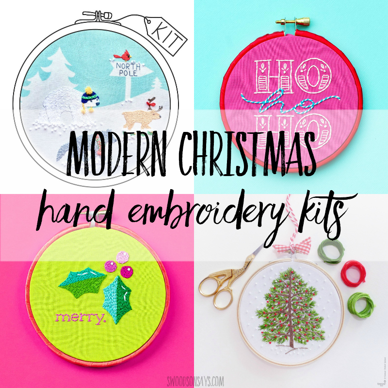 christmas hand embroidery kits