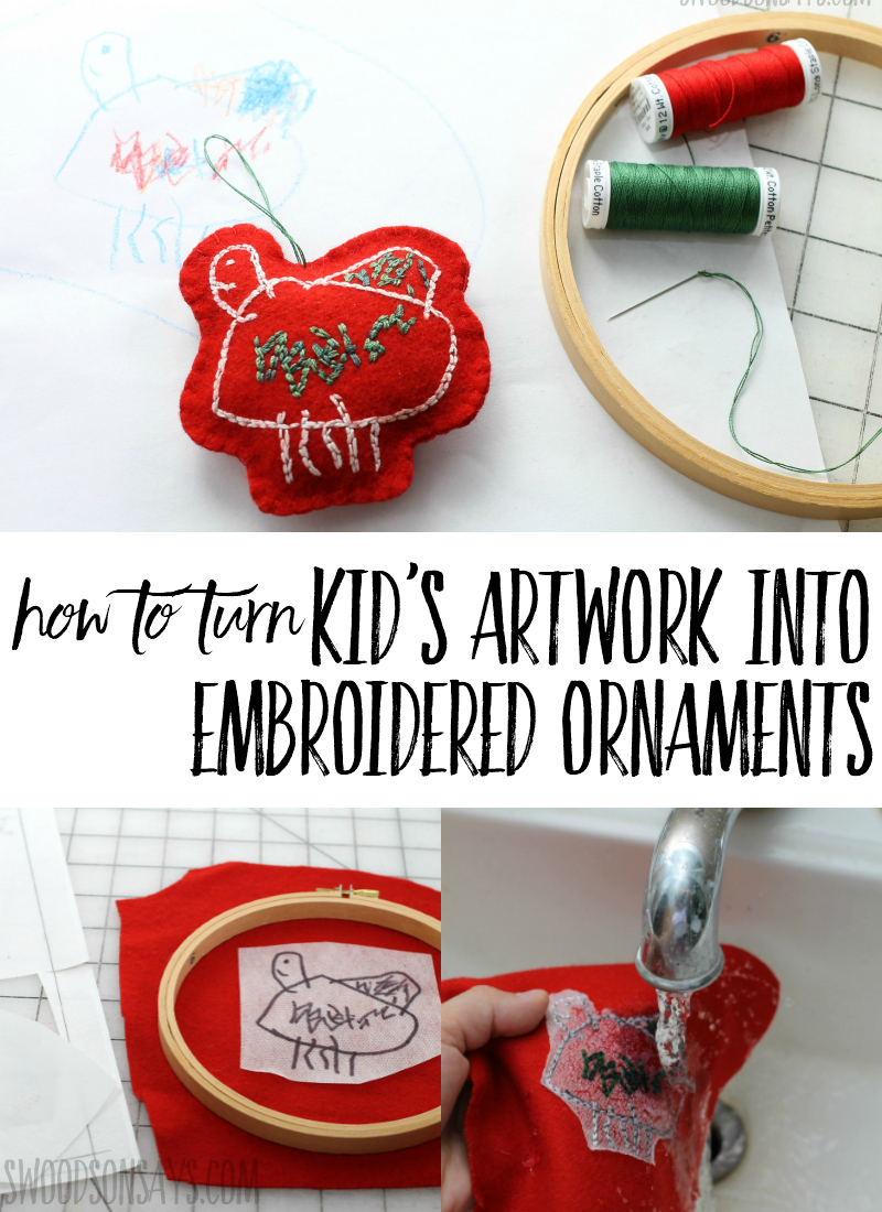 Check out this easy tutorial for how to turn kids artwork into Christmas ornaments! Simple materials and beginner stitches make sweet hand embroidered ornaments that are perfect Christmas gifts that kids can make. Click through and see how! #embroidery #handembroidery #christmascrafts