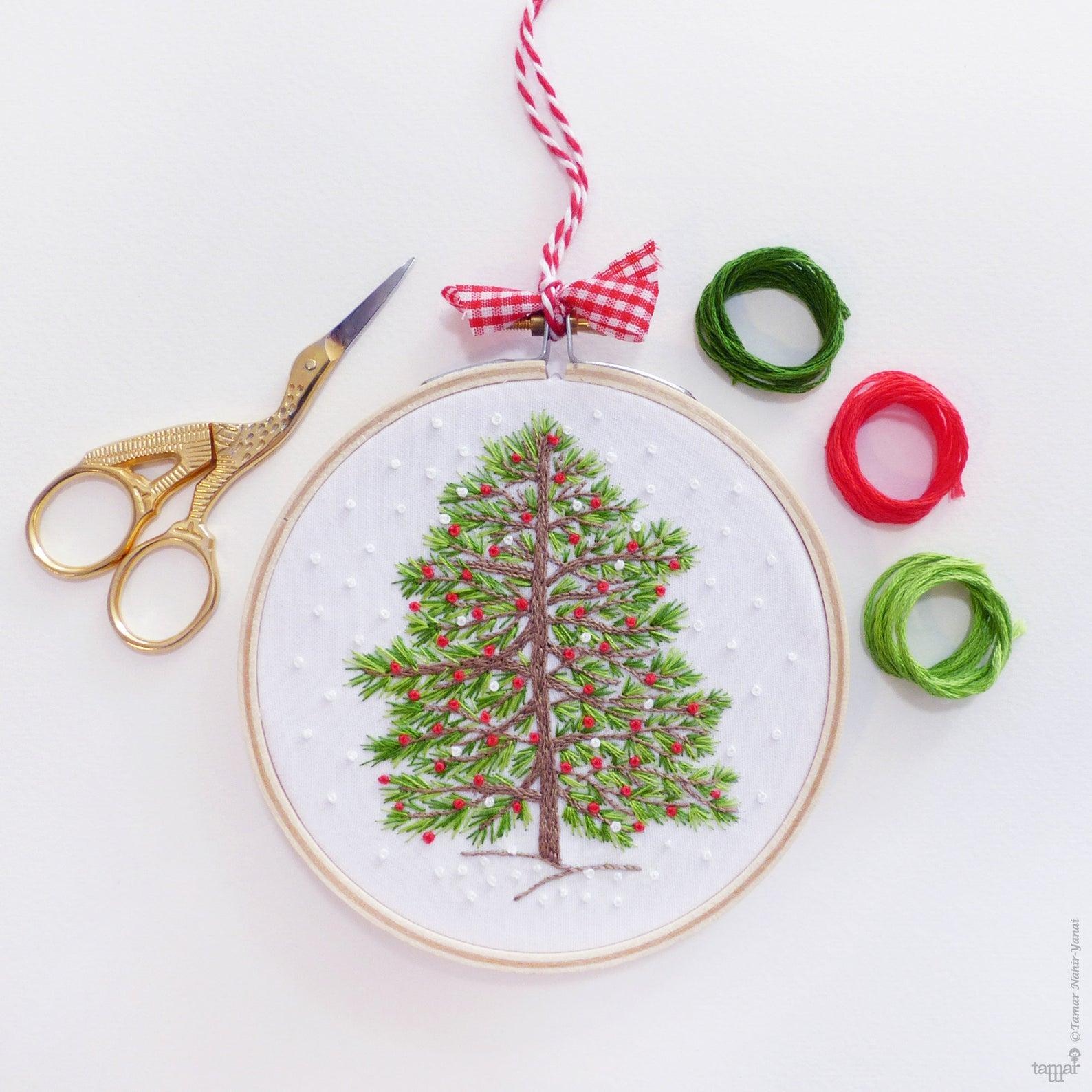 christmas tree embroidery kit